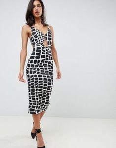 dca484f262a304 ASOS DESIGN mono print plunge bodycon midi dress Paris Outfits