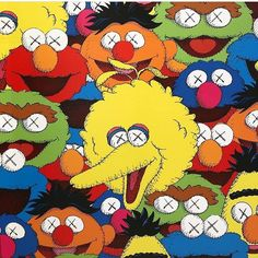 Bert Wallpaper Iphone X Kaws X Sesame Street Family Collab T Shirt In 2019 Kaws