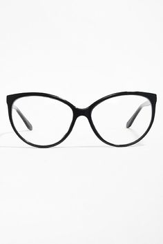 'Alvina' Thin Cat Eye Clear Glasses - Black