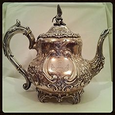 Teapot Edwardian Sterling Silver Chased Charles Clement Pilling London England Circa 1901