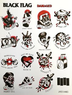 Fun, creative, rebellious, many people love getting tattoos and use them as a platform for self-expression. Tattoos can be satisfying both physically while looking at them and mentally when you con… Tattoo Flash Sheet, Tattoo Flash Art, Tatoo Art, Black Flag Tattoo, Black Tattoos, Ankle Tattoos, Small Tattoos, Traditional Tattoo Design, Traditional Tattoo Flash