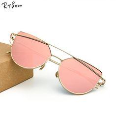 eb7f9972b03 Cat Eye Sunglasses Women Brand Designer Twin-Beams Sun Glasses Rose Gold  Mirror Cateye Sun Glasses For Female De sol