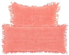 Laundered Linen Coral Decorative Pillows. Looking for a supersoft, supervibrant take on the linen pillow? Relax with this easy beauty. #bedding