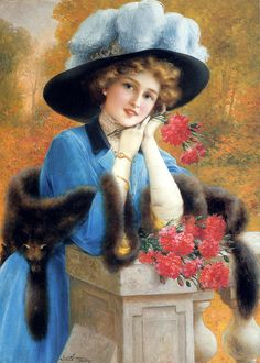 """""""Carnations are for Love"""" (1909) by Emile Vernon (1872-1919)."""