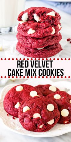 These Red Velvet Cake Mix Cookies are soft, chewy & filled with white chocolate chips. There's only 4 ingredients and they're the perfect easy red velvet cookie for Christmas or Valentine's! Cake Mix Recipes, Baking Recipes, Cookie Recipes, Dessert Recipes, Chocolate Chip Recipes, Chocolate Chips, White Chocolate, Chocolate Cake Mix Cookies, Cake Cookies