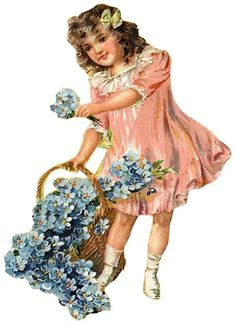 free vintage clip art downloads | free vintage children clip art little girl in pink dress forget-me ...