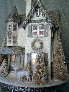 Large Christmas Putz Victorian Manor House Bottle Brush Trees Reindeer Lights