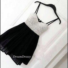 Short black chiffon white pearl homecoming dresses by DreamDressy, $108.99