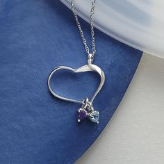 Customized heart of hearts birthstone necklace at RedEnvelope.com