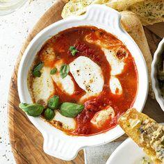 Baked Mozzarella & Tomato-Basil Antipasti - YUM!  (skip the bread!)
