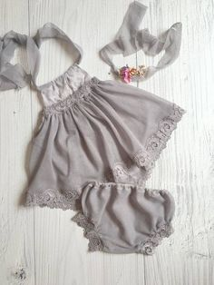 Cod262Newborn Lace Romper,Slate gray , baby bloomer,baby , tie back, baby jumper, baby girl, romper, newborn clothing, photography prop