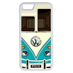 CellPowerCasesTM VW Minibus Teal iPhone 6 (4.7) V1 White Case ($9.98) ❤ liked on Polyvore featuring accessories, tech accessories and white