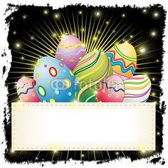 Easter Eggs on Banner-Vector © bluedarkat