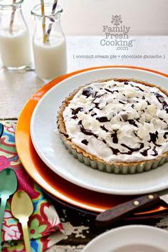 Coconut Cream Pie with Chocolate Ganache Recipe on FamilyFreshCooking.com © MarlaMeridith.com #grainfree #glutenfree #Paleo