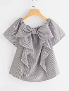 Blouses by BORNTOWEAR. Vertical Striped Frill Trim Blouse