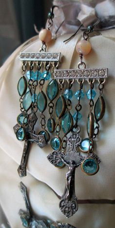 'cross cascades' vintage assemblage earrings by The French Circus, $67.00