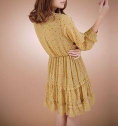 Long Sleevee Floral Embellished Chiffon Dress