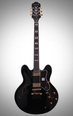 Epiphone Sheraton II Archtop Electric Guitar: This beauty delivers rich semi-hollow tone with a laminated maple body, a 3-piece maple set neck, and block and triangle inlays on its rosewood fretboard.