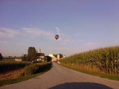 There are always lots of hot air balloons over Southern Lancaster County - The Ben & Anna Lantz farm - Hoover Road, Kinzers, PA - August, 2011