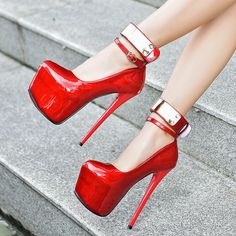 New red women patent leather pumps sexy platform high heels elegant bridal shoes Gold ankle buckle stiletto shoes White black #goldstilettoheels