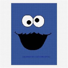 COZYCONCEPTS COOKIE MONSTER CROCHET PATTERN GRAPH AFGHAN BLUE FUZZY FACE EMAILED .PDF