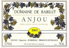 French Wine Label Anjou 2003