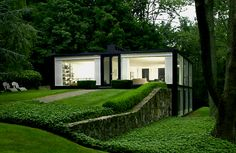 "Glass House in New Castle by Robert Fitzpatrick - the owner commissioned said architect to ""copy"" the iconic Glass House by Phillip Johnson in New Canaan, Connecticut"