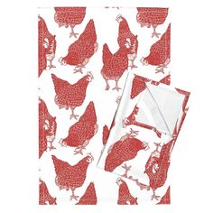 Orpington–Linen Tea Towels (Set of 2) —featuring Red Hens by threebearsprints — Roostery Home Decor | A Spoonflower Company