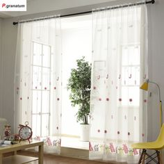 Single Panels Sheer Christmas Curtains For Living Room Kids Decoration Pink Embroidered Voile Curtains For Children . Subcategory: Home Textile. Kids Room Curtains, Tulle Curtains, Hanging Curtains, Panel Curtains, Kids Bedroom, Room Kids, Window Types, Ceiling Installation, Kids Decor