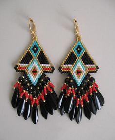 Native American Beadwoven Earrings by pattimacs on Etsy, $28.00