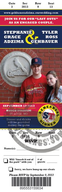 St. Louis Cardinals Baseball - Send us a great personal photo and let our graphics department uniquely craft a one of a kind Baseball Ticket Save the Date for your wedding. SportsThemedWeddi... #baseballwedding #stwdotcom