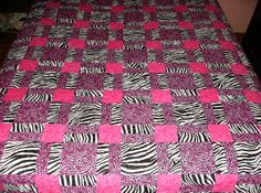 Hot Pink Jungle Fever Queen Quilt by madeinUSAbyLinda on Etsy SOLD