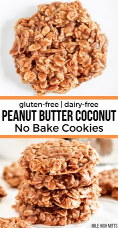 Sweet and salty these Peanut Butter Coconut No Bake Cookies are a fun easy and addicting treat! Gluten-free dairy-free and vegan. These cookies are made with gluten-free oats coconut peanut butter coconut sugar coconut oil and almond milk. Dairy Free No Bake Cookies, Healthy No Bake Cookies, Sugar Free Cookies, Sugar Free Desserts, Sugar Free Recipes, No Bake Coconut Cookies, Coconut Sugar Recipes, Dairy Free Recipes Easy, Sugar Free Snacks