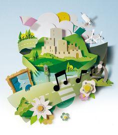 Paper sculpture illustration   Bomboland