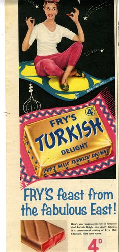 """Fry's Turkish They had a slogan back then """"full of Eastern promise"""". Vintage Food Labels, Vintage Candy, Vintage Recipes, Retro Vintage, Retro Advertising, Retro Ads, Vintage Advertisements, Fried Milk"""