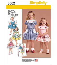 Simplicity Vintage 1950'S Dress For Toddler And Child-1/2-1-2-3