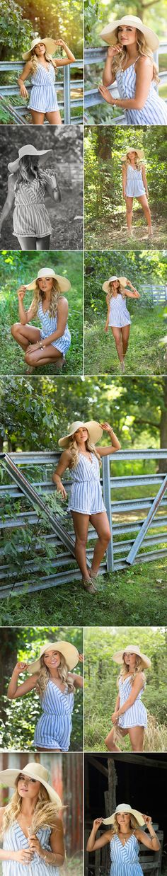 d-Squared Designs Edwardsville, IL Senior Photography. Summer session with hat. Romper and hat style. Senior Year Pictures, Senior Girl Poses, Girl Senior Pictures, Senior Picture Outfits, Senior Girls, Senior Portraits, Senior Session, Senior Girl Photography, Summer Photography