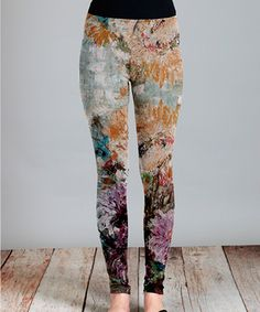Another great find on #zulily! Mustard & Green Floral Leggings - Plus by Simply Aster #zulilyfinds