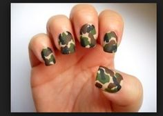 I love camo I have to do this with my nails. If u love doing nail just search up  nail art and go to videos you will find lots of nail art there.this is for all those gals that like to pant nails.