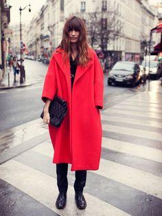 Caroline De Maigret rocking red in Paris ... amazing color