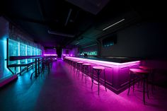 Lo-Fi bar by Synecdoche Design Studio - led booth lighting - cyberpunk - basement bar - bar seating Neon Lighting, Bar Lighting, Bar Deco, Nightclub Design, Table Cafe, Bar Interior Design, Neon Design, Logo Design, Hookah Lounge