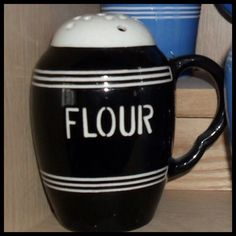 Black Bretby Flour Shaker. Possibly a commission piece.