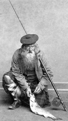 Old ancestry visit genealogy Scottish family history photograph image of a Fly Fisherman in a kilt from the Highlands of Scotland