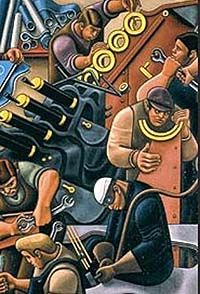 Shows a stylised painting of busy workers in an armaments factory. Ww2 Women, Industrial Paintings, Office Artwork, Museum Art Gallery, Labour Party, Art Society, Galleries In London, Workplace Design, A Level Art