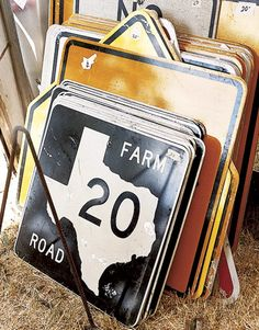 The Zapp Hall Antique Show  We'll check out the Zapp Hall Antique Show and visit with the Junk Gypsies, a trio of entrepreneurial cowgirls, who run a popular booth and host a rollicking party called Junk-O-Rama Prom.  Aluminum Texas Road Sign    Decommissioned aluminum road signs start at $ 15 at Kana's Klutter.