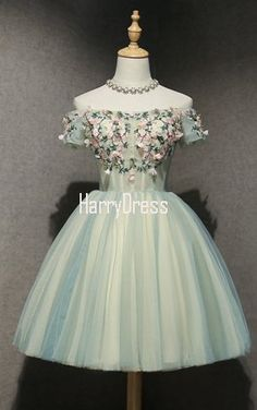 Light Green Short A Line Appliques Lace Lace Up Homecoming Dress