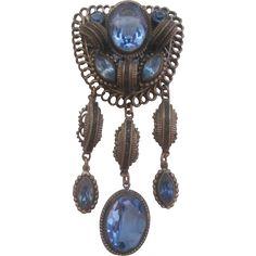Vintage Large Czech Blue Glass Statement Pin-Brooch