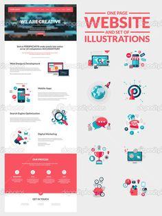 Шаблон веб-дизайна на одну страницу — стоковая иллюстрация #46624207