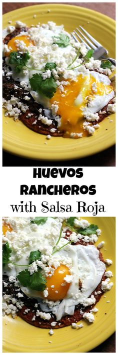 Huevos rancheros is a traditional Spanish breakfast of fried tortillas, eggs, and refried beans that we've spiced up with a salsa roja made from fresh and dried chiles.