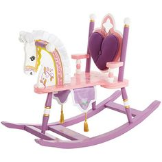 Princess Rocking Horse**hand painted wooden rocking horse features a removable padded backrest with cut out detail, silky satin mane & ears and regal banner with gold tassels. Total height is 27 inches tall. Height of seat is 12 1/2 and the length is 35 inches and width 15 inches.***198-